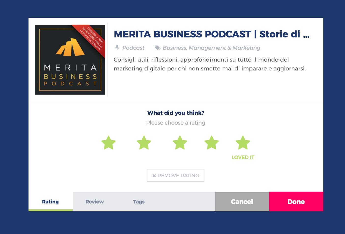 5 Stelle su Podchaser al tuo podcast preferito