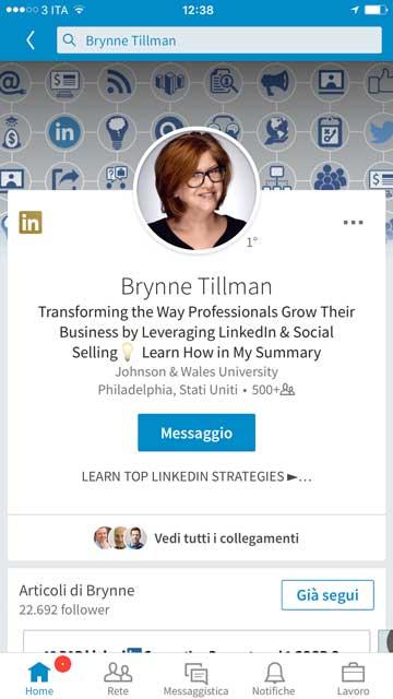 Brynne Tillman - Linkedin Summari mobile