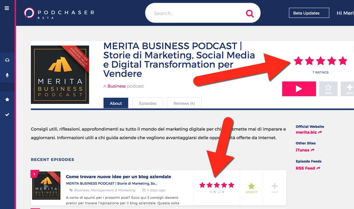 Come votare un podcast su Podchaser