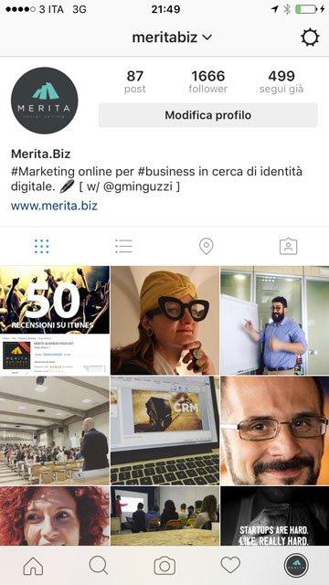 Instagram: come funziona l'account di MeritaBiz