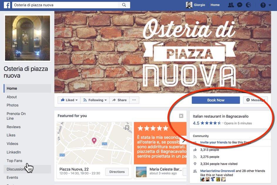 Recensioni anche su Facebook per i ristoranti