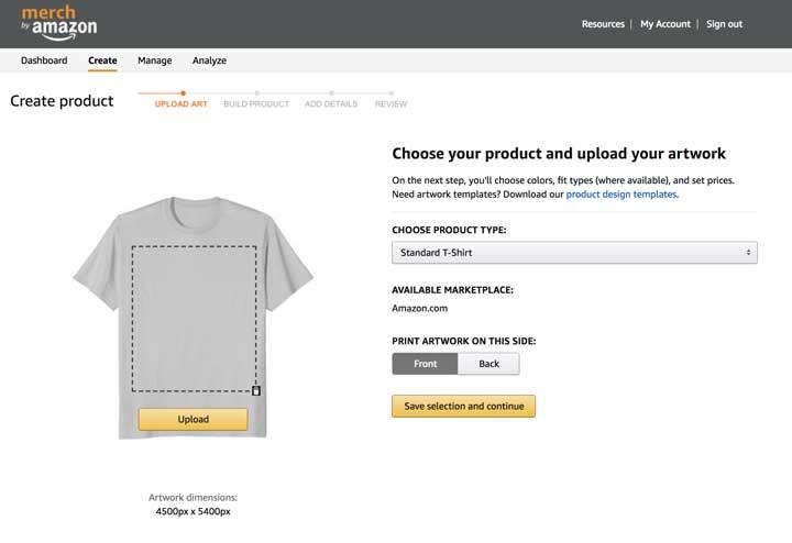 Schermata di Merch By Amazon