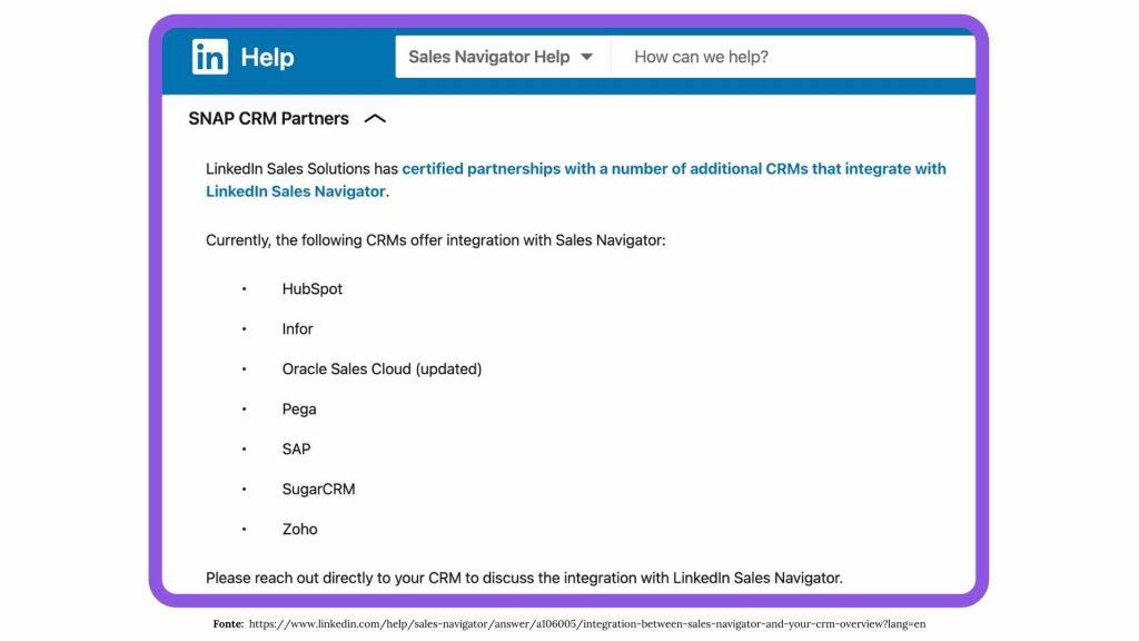 Integrazione fra Linkedin e il CRM: Lista dei partner SNAP