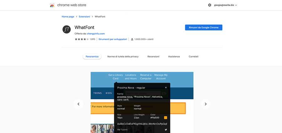 WhatFont: una delle 10 estensioni per Google Chorome